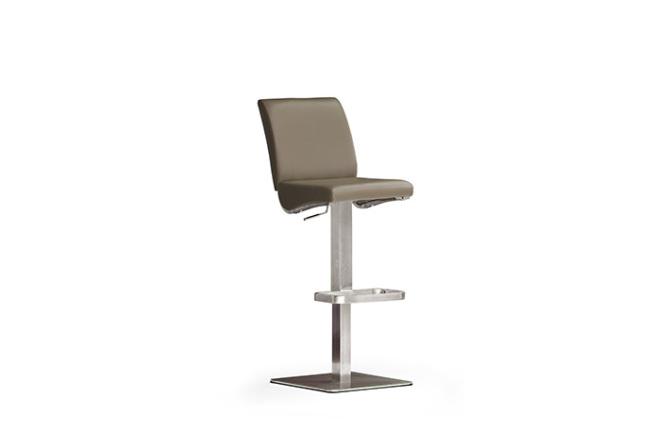 Barová židle VICKY V_pravá kůže cappuccino_nerezová čtvercová podnož i noha_obr. 2