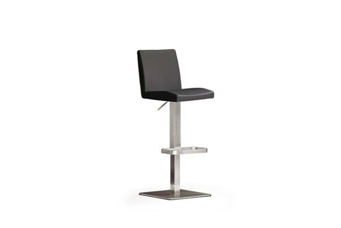 Barová stolička LARA V._nerez, štvorec, pravá koža