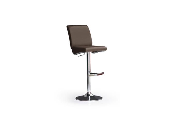 Barová stolička LARA I._chróm, kruh, imitácia kože