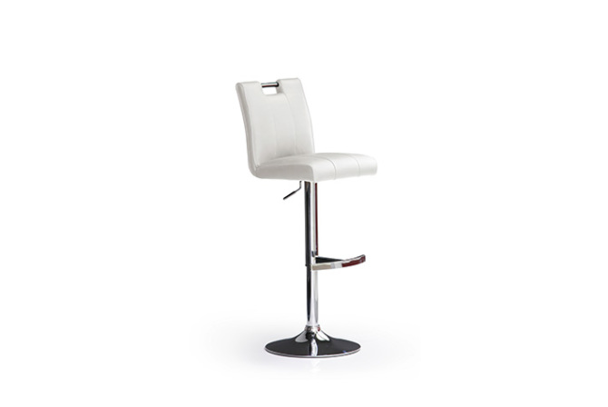 Barová stolička MIA I._chróm, kruh, imitácia kože