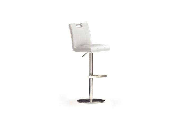 Barová stolička MIA II._nerez, kruh, imitácia kože