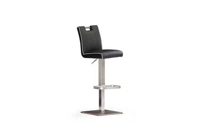 Barová stolička MIA IV._nerez, štvorec, imitácia kože