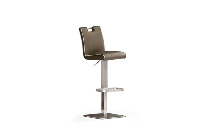 Barová stolička MIA V._nerez, štvorec, pravá koža