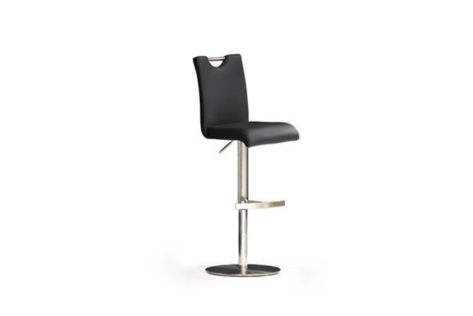 Barová stolička SOUL III._nerez, kruh, pravá koža