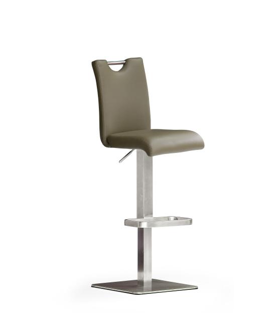 Barová stolička SOUL V._nerez, štvorec, pravá koža