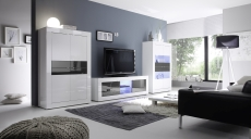 BASICO_obývací pokoj_bílý lak, vysoký lesk / antracit lak, vysoký lesk_highboard + TV-element 181 cm + vitrina 4dv.
