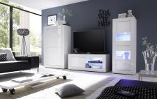 BASICO_obývací pokoj_bílý lak, vysoký lesk_highboard + TV-element 140 cm + vitrina 2dv.