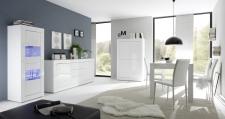BASICO_jídelna_bílý lak, vysoký lesk_vitrina 2dv. + sideboard 210 cm + highboard