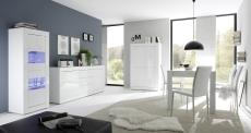 Obývací / jídelní nábytek BASICO_volná sestava_vitrina 2dv. 10 + sideboard 210 cm 07 + highboard 04_bílý lak - vysoký lesk