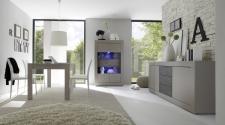 BASICO_jídelna_béžový matový melamin / dub wenge dekor_vitrina 4dv. + sideboard 210 cm