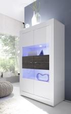 BASICO vitrina 4dv._bílý lak, vysoký lesk / dub wenge dekor
