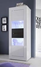 BASICO_vitrina 2dv._bílý lak, vysoký lesk / dub wenge dekor