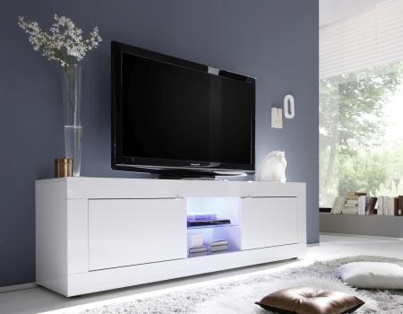 BASICO_TV-element 181 cm_bílý lak, vysoký lesk