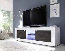 BASICO_TV-element 181 cm_bílý lak, vysoký lesk / dub wenge dekor