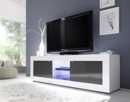 BASICO_TV-element 181 cm_bílý lak, vysoký lesk / antracit lak, vysoký lesk