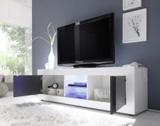 BASICO_TV-element 181 cm_bílý lak, vysoký lesk / antracit lak, vysoký lesk_otevřený