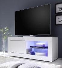 BASICO_TV-element 140 cm_bílý lak, vysoký lesk