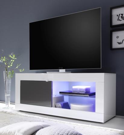 BASICO_TV-element 140 cm_bílý lak, vysoký lesk / antracit lak, vysoký lesk