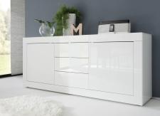 BASICO_sideboard 210 cm_bílý lak, vysoký lesk