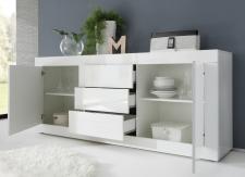 BASICO_sideboard 210 cm_bílý lak, vysoký lesk_otevřený