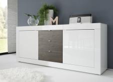 BASICO_sideboard 210 cm_bílý lak, vysoký lesk / dub wenge dekor