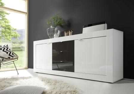 BASICO_sideboard 210 cm_bílý lak, vysoký lesk / antracit lak, vysoký lesk
