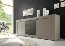 BASICO_sideboard 210 cm_béžový matový melamin / dub wenge dekor