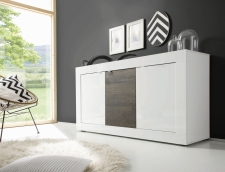 BASICO_sideboard 160 cm_bílý lak, vysoký lesk / dub wenge dekor