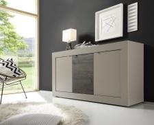 BASICO_sideboard 160 cm_béžový matový melamin / dub wenge dekor