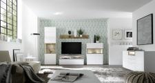 Obývací sestava BIANCO 411E50 + sideboard 49, bílý matný lak / divoký dub Bianco_obr. 5