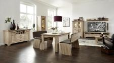 Obývací stěna BIRMINGHAM 10 C8 HH 80 + vitrina 01 + sideboard 20 + konf. stůl + jídelní stůl + 2x jídelní lavice_obr. 6