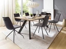 Jídelní stůl BOZEN v interieru_dub bělený masiv_podnoží lak ANTIK černý_obr. 2