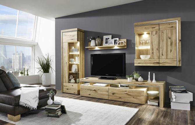 Návrh obývací sestavy BRENTO_vitrina levá 09 + TV spodní díl 03 + závěsná police 22 + závěsná skříňka 25_možnost volitelného LED osvětlení_obr. 1