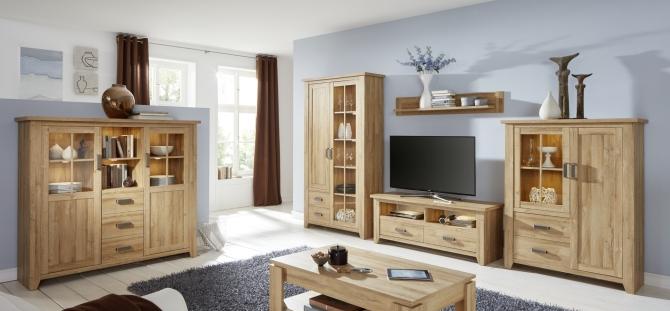 Obývací nábytek BRETAGNE_sestava 985 + highboard 862_v interieru_možnost volitelného LED osvětlení_obr. 1