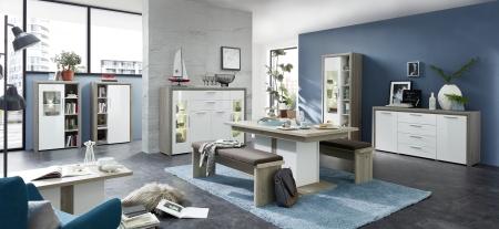 Obývací / jídelní nábytek CARIA_volná sestava typů 10 E5 HW 03 + 06 + 22 + 01 + 20 + jídelní stůl 29 E5 HW 01 + 2x lavice 29 E5 HW 03 + konf. stůl 29 E5 HW 02_obr. 12