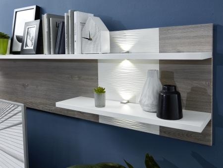 Obývací / jídelní nábytek CARIA_detail LED osvětlení u závěsného policového panelu_obr. 18