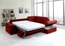 Sedací souprava COMFORT SLEEP_sofa 142 cm s funkcí na spaní + ottoman pravý s úložným prostorem_v látce Kati bordeaux (skup. 11)_obr. 37