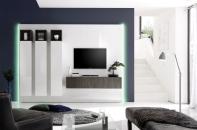 Obývací sestava CUBATO II_kombinace 1_bílý lak, vysoký lesk / dub wenge 3D dekor