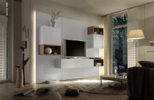 Obývací sestava CUBATO II_kombinace 3_bílý lak, vysoký lesk / dub natur 3D dekor