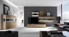 Celomasivní dubový nábytek DELGADO_návrh sestavy 18705 + highboard 187173_možnost volitelného LED osvětlení_denní pohled_obr. 1
