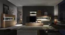 Celomasivní dubový nábytek DELGADO_návrh sestavy 18705 + highboard 187173_noční pohled_obr. 2