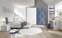 Dětský a studentský nábytek ESPERO (modrá varianta)_šatní skříň s posuvnými dveřmi (3D-optika) 243 cm_postel 120 cm + čalouněný díl_noční stolek_psací stůl 138 cm_regál se 3-mi policemi, v. 230 cm_obr. 1
