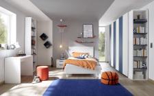 Dětský a studentský nábytek ESPERO (modrá varianta)_šatní skříň s posuvnými dveřmi (Vertiko-optika), š.243 cm_čalouněná postel 120 cm bílá_noční stolek_psací stůl 90 cm_2x samostatně stojící regál s 5-ti policemi,v. 230 cm_1x sada stěnových regálů_obr. 2