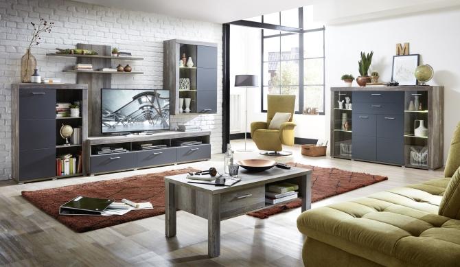 Obývací nábytek DEVON graphit_sestava 10 E4 DG 80 + highboard 22 + konf. stůl 29 E4 DG 02_obr. 1