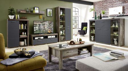 Obývací nábytek DEVON graphit_sestava 10 E4 DG 81 + highboard 22 + konf. stůl 29 E4 DG 02_obr. 2