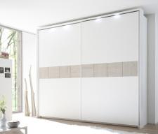 Šatní skříň s posuvnými dveřmi DOLCE_275x240 cm_s okrasným rámem a osvětlením_bílý matný lak - dub beige_obr. 3