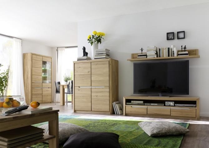 Obývací nábytek FLORENZ_volná sestava elementů_skříňka 07 + TV spodní díl 21 + závěsná police 31 + vitrina 10_možnost volitelného LED osvětlení_100% dubový masiv_obr. 2