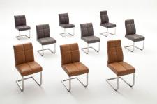 Jídelní židle FONTE_varianty A,B,C_imitace kůže hladká-sametový lesk_cognac, hnědá, šedá