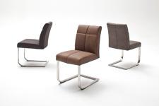 Jídelní židle FONTE_varianta A_imitace kůže strukturovaná_kaštan, hnědá, šedá