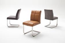 Jídelní židle FONTE_varianta A_imitace kůže hladká-sametový lesk_cognac, hnědá, šedá
